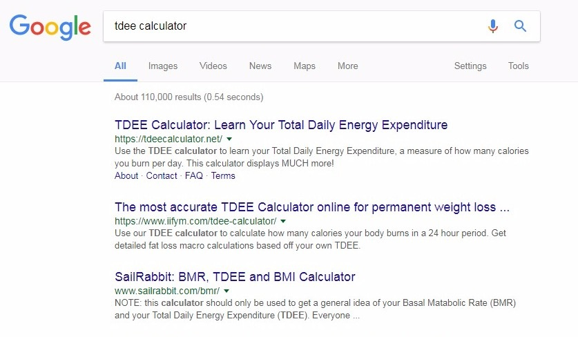 tdee calculator google